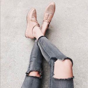 Aldo Perforated Natural Leather Flatform Brogues